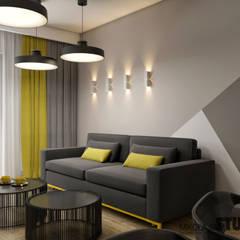 geometryczny salon: styl , w kategorii Salon zaprojektowany przez MIKOŁAJSKAstudio