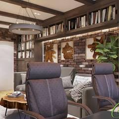 Интерьер кабинета со смелым сочетанием фактур: Рабочие кабинеты в . Автор – Компания архитекторов Латышевых 'Мечты сбываются'