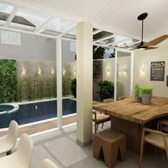Varanda Gourmet e Piscina: Terraços  por Juliana Zanetti Arquitetura e Interiores