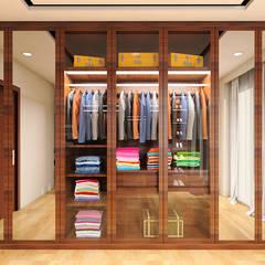 Master Bedroom Design Kelapa Gading - Mediterania:  Ruang Ganti by Multiline Design