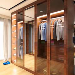 Master Bedroom Design Kelapa Gading - Mediterania: Ruang Ganti oleh Multiline Design, Modern