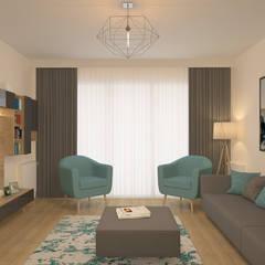 Oğuz Erdağı İç Mimarlık – Modern Salon Projesi (Örnek Daire):  tarz Oturma Odası