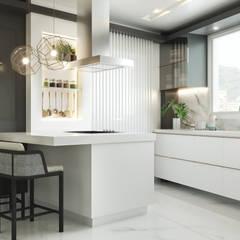 Cozinha Branca e Cinza: Cozinhas embutidas  por Rau Duarte Arquitetura