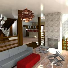 """Vivienda Unifamiliar """"que vivan los niños"""": Salas / recibidores de estilo  por Diseño Store, Moderno"""