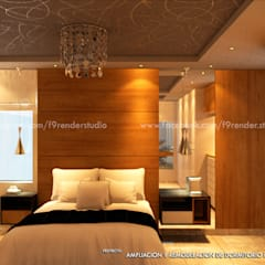 Vista de la Cabecera en melamine color Madera natural _Contacto 925389750: Dormitorios de estilo  por F9 studio Arquitectos