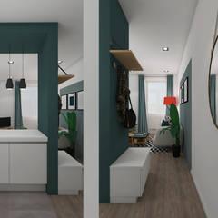 Petit volume, vaste perspective: Couloir et hall d'entrée de style  par Agence Maïlys MOUTON