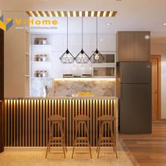 Thiết kế nội thất chung cư Mardarin garden 2, Hoà Phát – Chị An:  Tủ bếp by Công ty CP Kiến trúc V-Home,