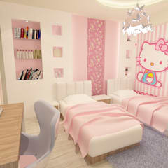 girl bedroom render 1 :  غرفة نوم بنات تنفيذ Quattro designs