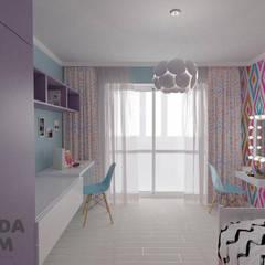"""Современная квартира в """"Виленском маентке"""". Modern appartment.: Спальни для девочек в . Автор – дизайн-студия PandaDom, Модерн"""