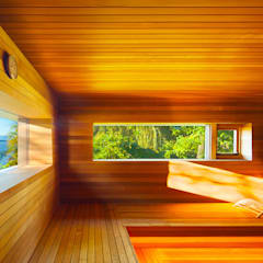 Hudson Valley Spa:  Sauna by andretchelistcheffarchitects