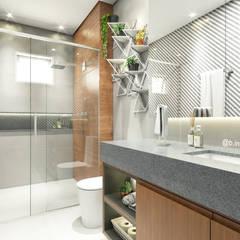 Banheiro moderno: Banheiros  por Bruna Rodrigues Designer de Interiores