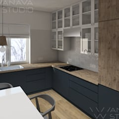 مطبخ ذو قطع مدمجة تنفيذ Anava Studio, إسكندينافي خشب Wood effect