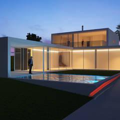 Casas Briosa: Piscinas de jardim  por Maia e Moura Arquitectura