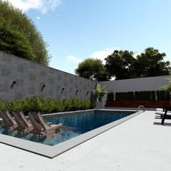 Vista angular da área de lazer: Piscinas de jardim  por Milward Arquitetura