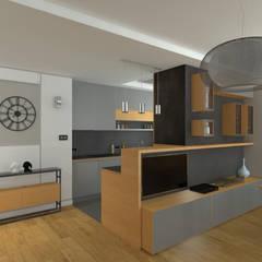 MODERNA - Mieszkanie 69 m2: styl , w kategorii Aneks kuchenny zaprojektowany przez HD PROJEKT