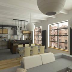 LOFT - Salon z aneksem kuchennym: styl , w kategorii Jadalnia zaprojektowany przez HD PROJEKT