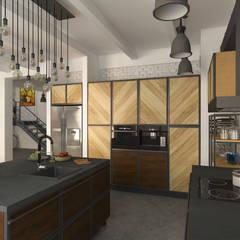 LOFT - Salon z aneksem kuchennym: styl , w kategorii Aneks kuchenny zaprojektowany przez HD PROJEKT