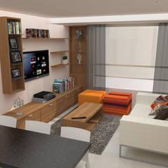 Apartamento AF1: Salas / recibidores de estilo  por TRIBU ESTUDIO CREATIVO, Moderno