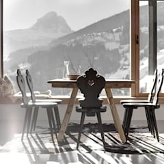 Dining with a view: rustic Dining room by Spacio Collections