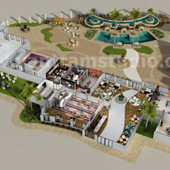 3D Resort Site Plan Layout Concept Design by Yantram online 3d floor plan Liverpool, UK:  Hotels by Yantram Architectural Design Studio