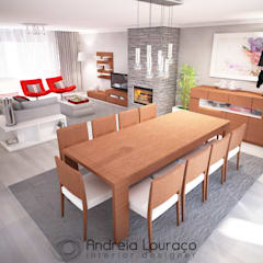 """Projecto """"Fashionable Red"""" By Atelier Andreia Louraço: Salas de jantar  por Andreia Louraço - Designer de Interiores (Contacto: atelier.andreialouraco@gmail.com),Moderno Madeira Acabamento em madeira"""