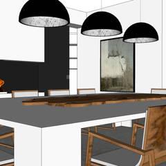 Villa contemporaine: Salle à manger de style  par Architecture interieure Laure Toury