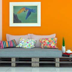 Sofá em Pallet Salas de estar rústicas por Jéssika Martins Design de Interiores Rústico Madeira Efeito de madeira