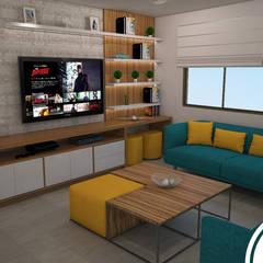 Sala de estar en terraza : Terrazas de estilo  por Spacio5,
