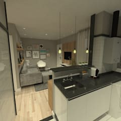Sala de estar + jantar com cozinha integrada: Salas de estar  por Studio BRTA