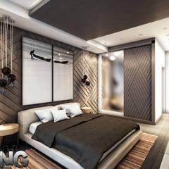 :  غرفة نوم تنفيذ Zoning Architects, حداثي خشب Wood effect