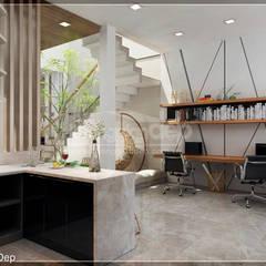 Thiết kế nhà phố Đồng Nai: Gần gũi thiên nhiên với không gian xanh:  Phòng học/Văn phòng by Công ty cổ phần đầu tư xây dựng Không Gian Đẹp