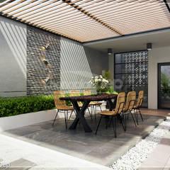 Thiết kế nhà phố Đồng Nai: Gần gũi thiên nhiên với không gian xanh:  Hiên, sân thượng by Công ty cổ phần đầu tư xây dựng Không Gian Đẹp ,