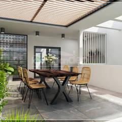 Thiết kế nhà phố Đồng Nai: Gần gũi thiên nhiên với không gian xanh:  Hiên, sân thượng by Công ty cổ phần đầu tư xây dựng Không Gian Đẹp , Hiện đại
