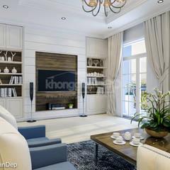 Thiết kế nhà phố Gò Vấp: Phong cách bán cổ điển:  Phòng khách by Công ty cổ phần đầu tư xây dựng Không Gian Đẹp