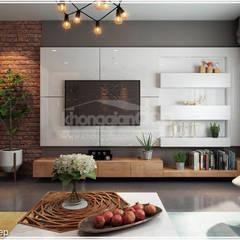 Thiết kế nhà phố Tân Phú: Vẻ đẹp bình dị chan hoà thiên nhiên:  Phòng khách by Công ty cổ phần đầu tư xây dựng Không Gian Đẹp