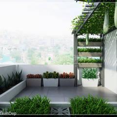 Thiết kế nhà phố Tân Phú: Vẻ đẹp bình dị chan hoà thiên nhiên:  Hiên, sân thượng by Công ty cổ phần đầu tư xây dựng Không Gian Đẹp