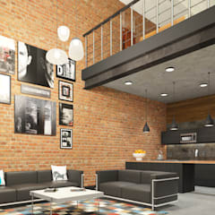 Industrial style apartment:  Living room by AT The Studio