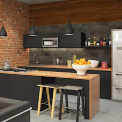 Industrial style apartment: industrial Kitchen by AT The Studio