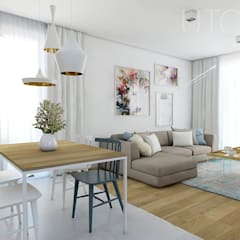 ŁĄKOWY AKCENT: styl , w kategorii Salon zaprojektowany przez UTOO-Pracownia Architektury Wnętrz i Krajobrazu