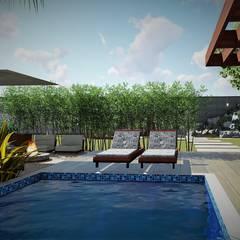 Convite ao mergulho: Piscinas de jardim  por Trivisio Consultoria e Projetos em 3D