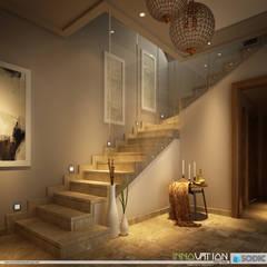 SODIC-WTR DUPLEX MOCKUP-MODERN CLASSIC:  Corridor & hallway by INNOVATION DESIGN STUDIO, Eclectic Stone