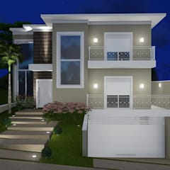 Casa moderna com detalhes clássicos: Casas unifamilares  por Trivisio Consultoria e Projetos em 3D