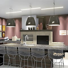 Casa moderna com detalhes clássicos: Terraços  por Trivisio Consultoria e Projetos em 3D