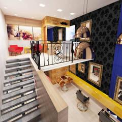 Barbearia retrô: Espaços comerciais  por Deborah Iachinski Arquitetura & Interiores