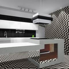 Ousadia e personalidade: Armários de cozinha  por Trivisio Consultoria e Projetos em 3D