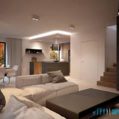 Projekt wnętrz salonu w domu jednorodzinnym w Śośnicowicach: styl , w kategorii Pokój multimedialny zaprojektowany przez Archi group Adam Kuropatwa