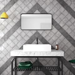 Vestige Cool Grey, Hat Black 13,2 x 13,2 cm.: Baños de estilo  de Equipe Ceramicas