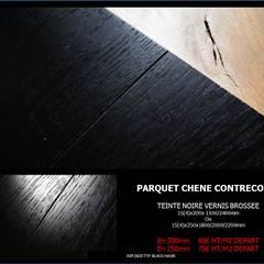 PARQUET EN CHENE CONTRECOLLE DESIGN NOIR : Murs de style  par ADD