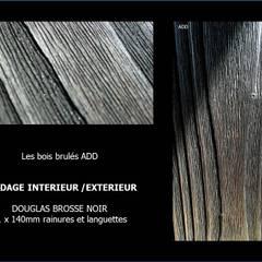 Bardage intérieur extérieur, bois brulé et brossé (douglas): Murs de style  par ADD
