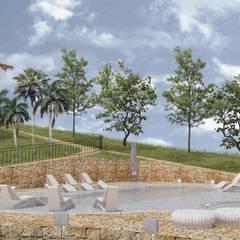 TERRAZAS RECREATIVAS: Piscinas de jardín de estilo  por BICHO arquitectura, Tropical Piedra